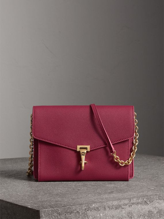 Small Grainy Leather Crossbody Bag in Berry Pink