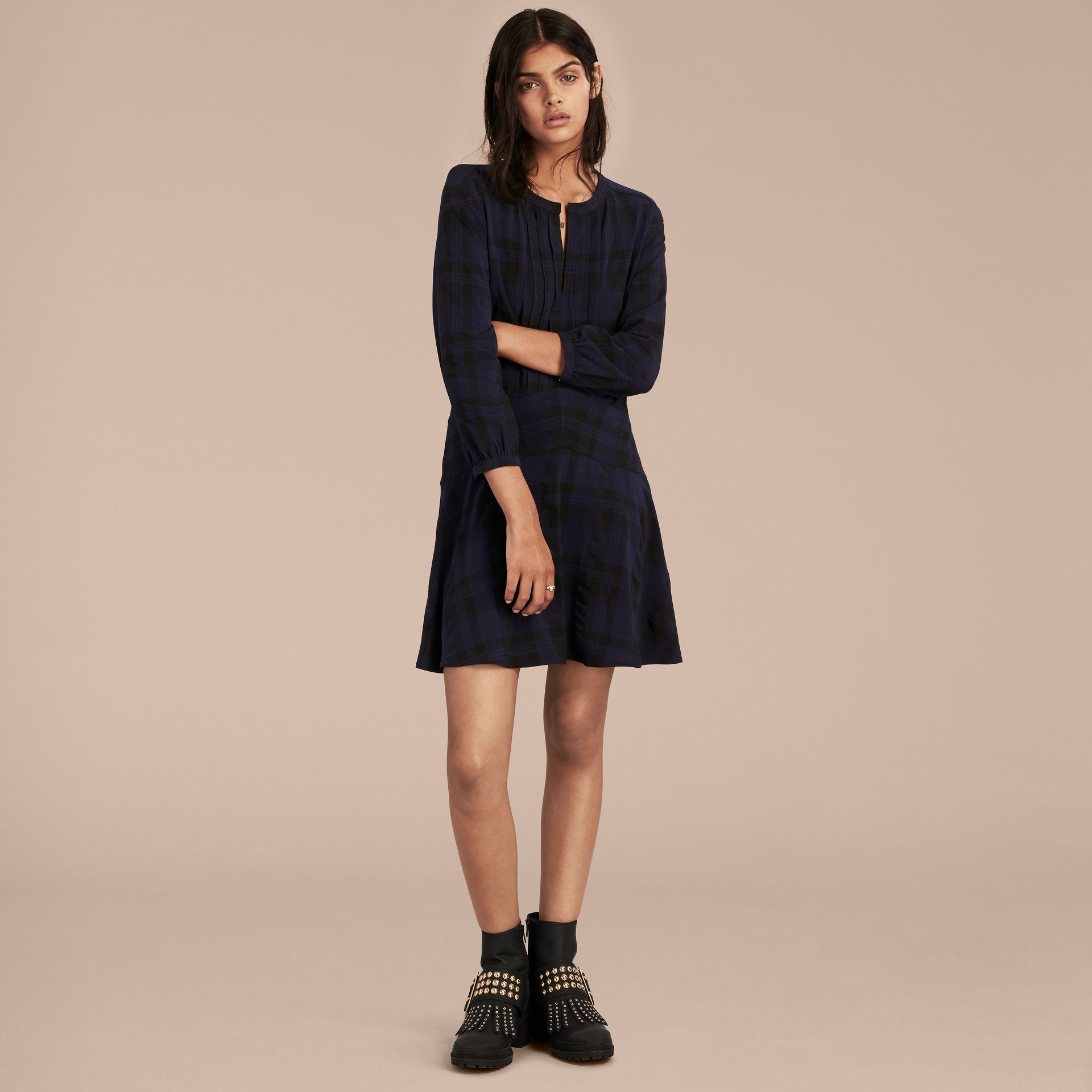 Ink blue Check Technical Cotton A-line Dress - gallery image 6