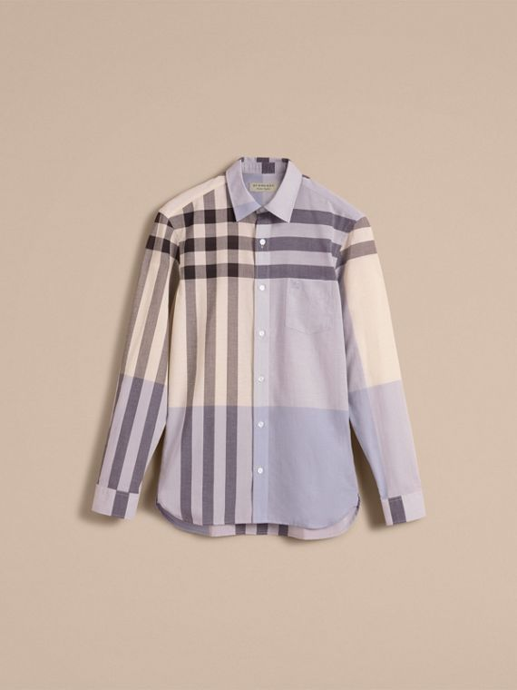 Check Cotton Poplin and Linen Shirt Pale Cornflower Blue - cell image 3