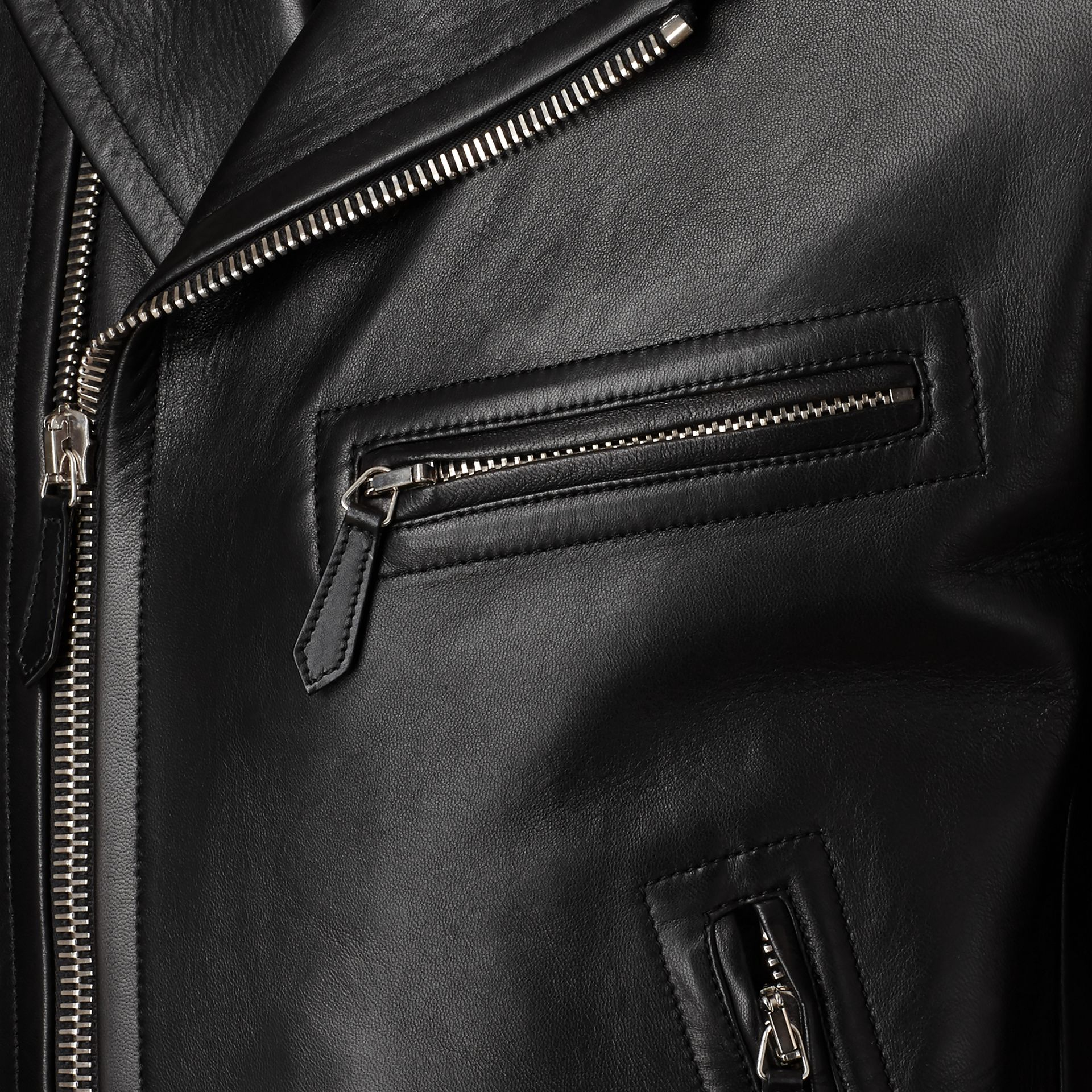 Leather Biker Jacket in Black - Men | Burberry - gallery image 2