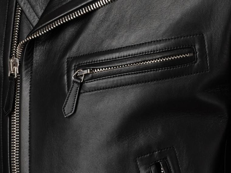 가죽 바이커 재킷 (블랙) - 남성 | Burberry - cell image 1