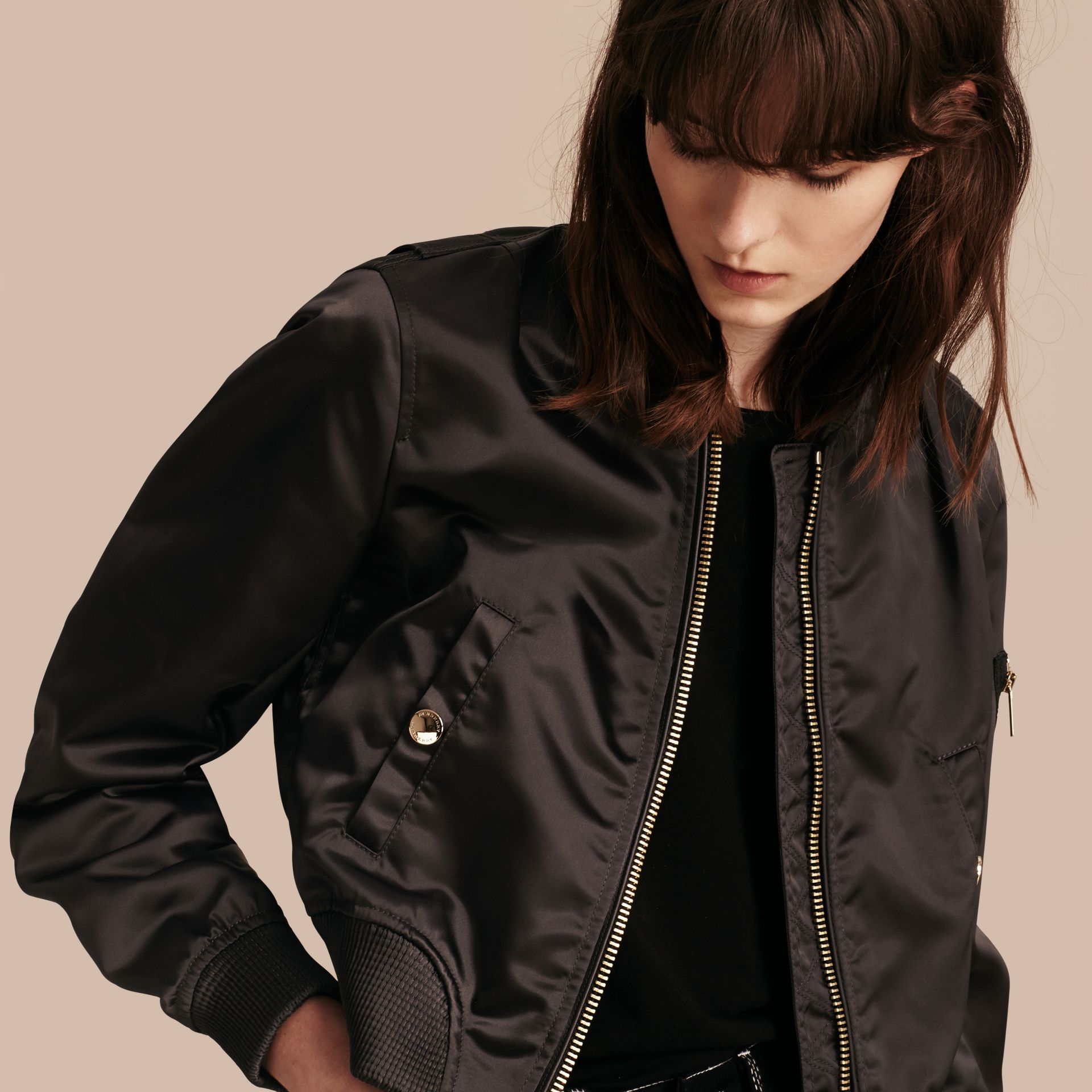 Graphite Cropped Technical Bomber Jacket - gallery image 1