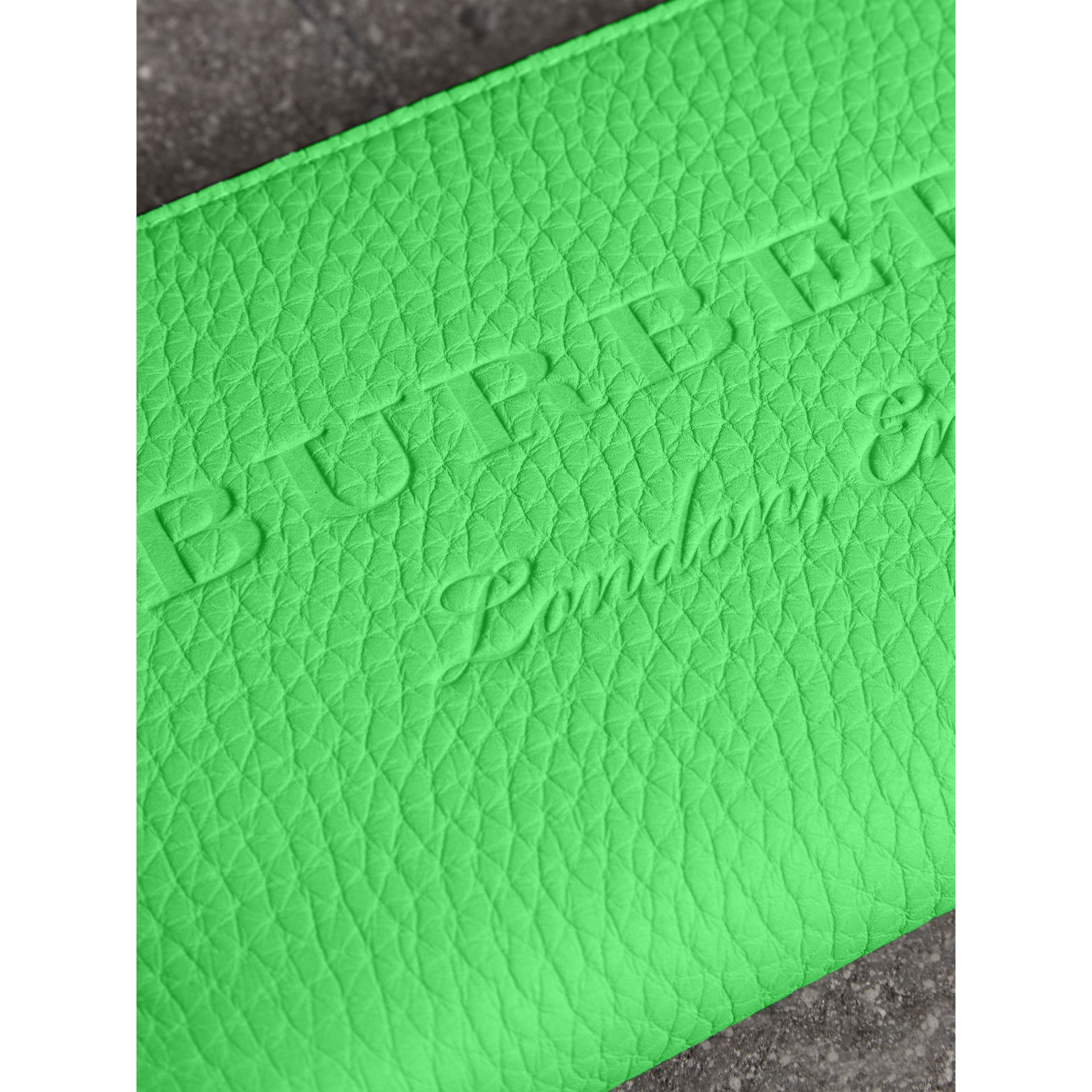 Embossed Leather Ziparound Wallet in Bright Green - Women | Burberry - gallery image 1