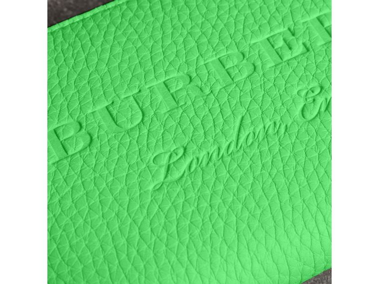 Embossed Leather Ziparound Wallet in Bright Green - Women | Burberry - cell image 1