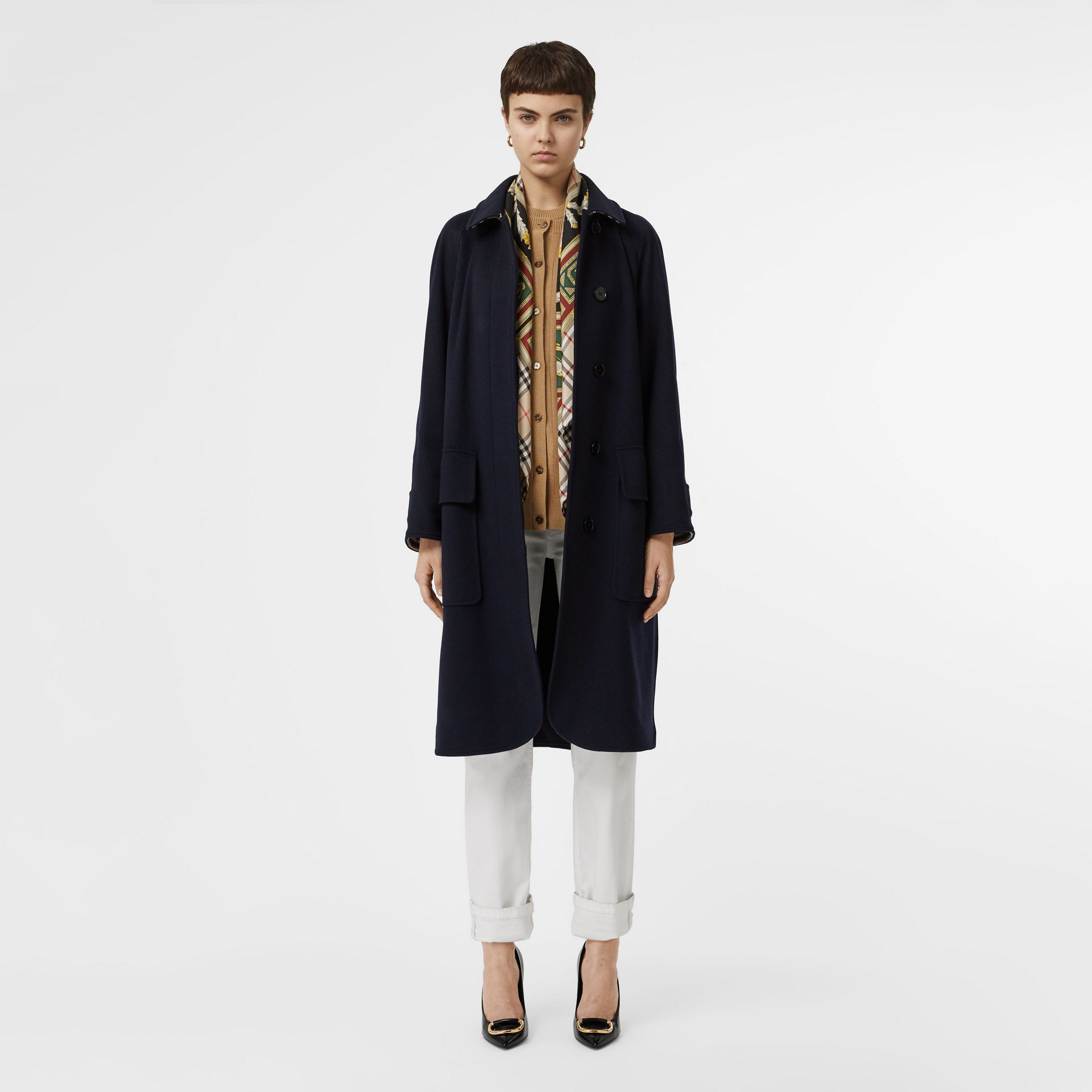 Cashmere Car Coat in Dark Ink Blue - Women | Burberry United Kingdom - gallery image 7