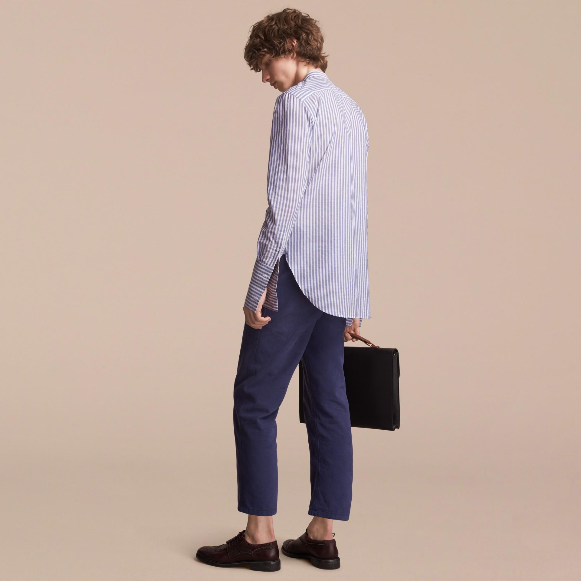 Unisex Pleated Bib Striped Cotton Shirt - gallery image 3