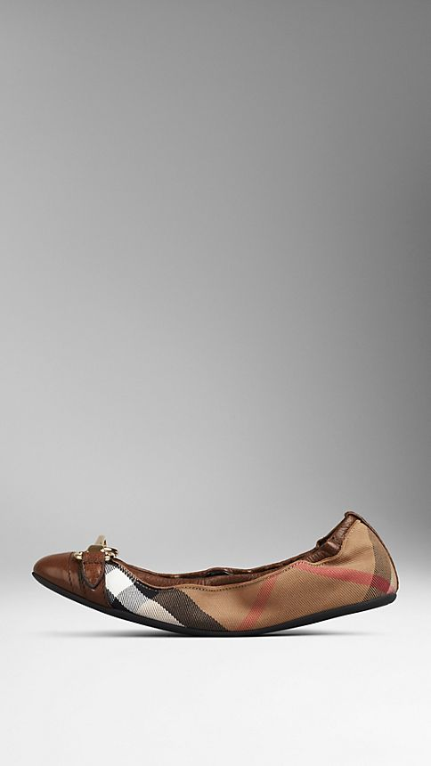 Dark tan Buckle Detail House Check Ballerinas Dark Tan - Image 1