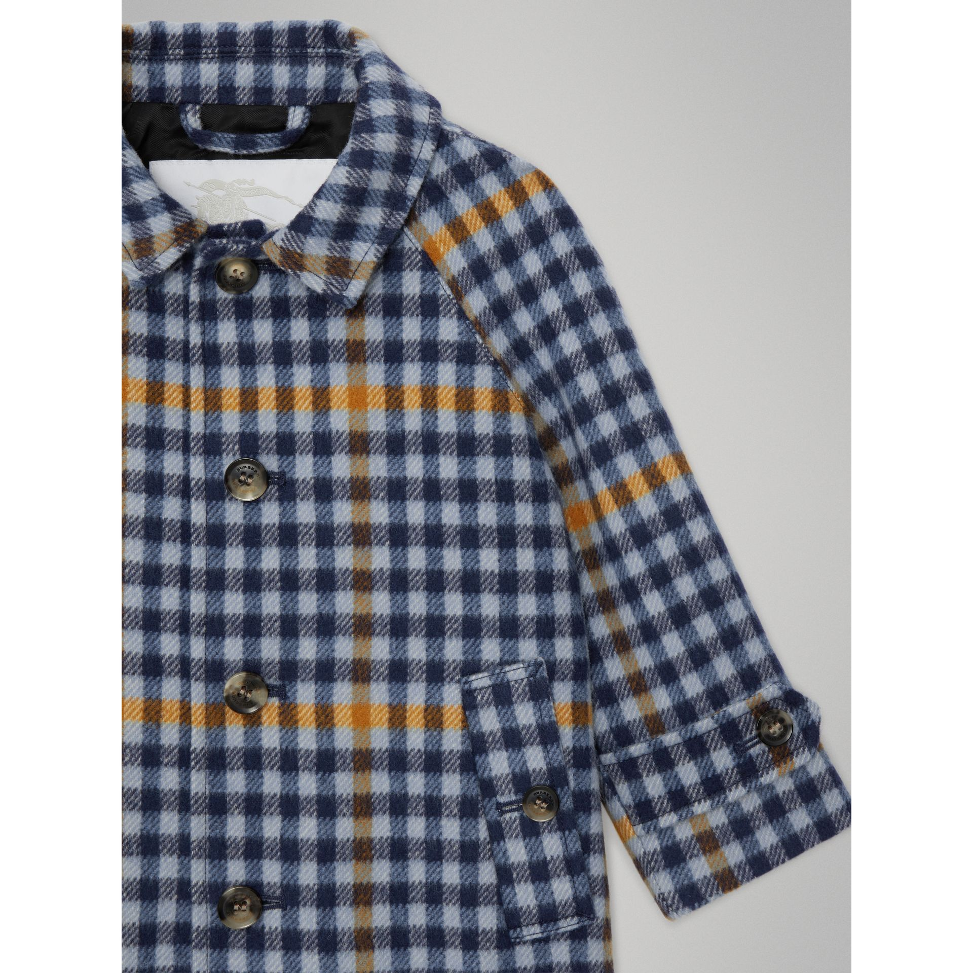 Check Wool Car Coat in Canvas Blue - Children | Burberry - gallery image 5