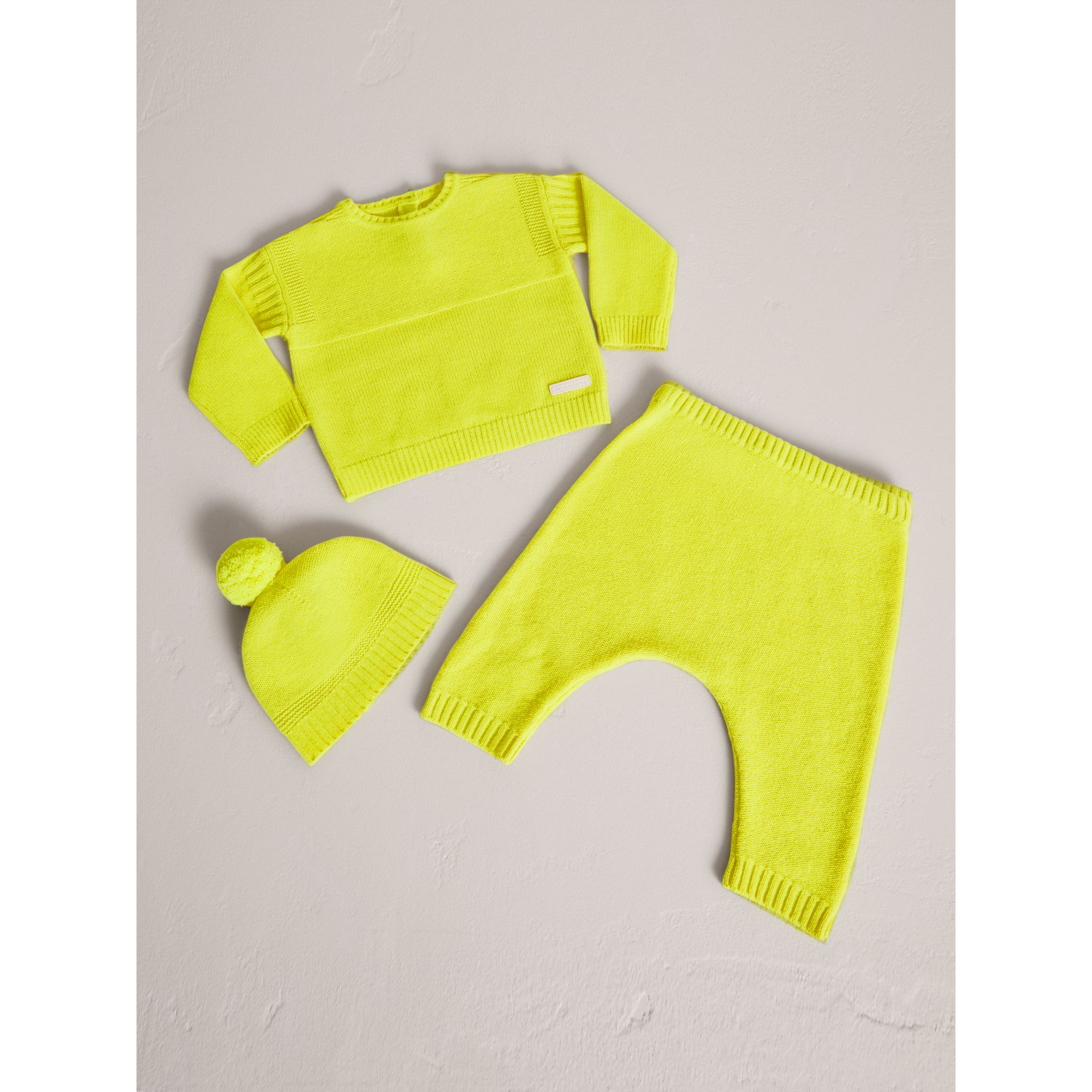 Cashmere Three-piece Baby Gift Set in Neon Yellow | Burberry United Kingdom - gallery image 1