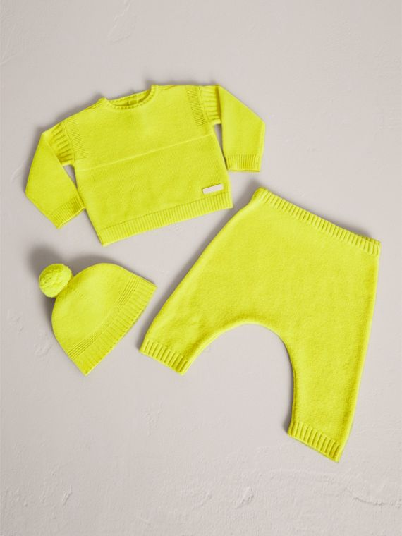 Cashmere Three-piece Baby Gift Set in Neon Yellow