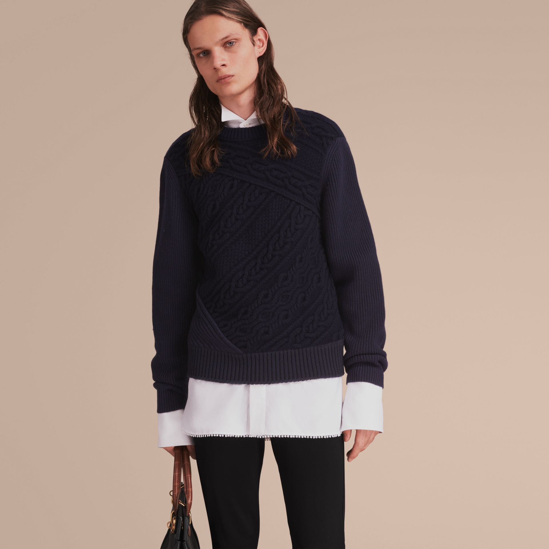 Cashmere Sweater with Cable Knit Detail - gallery image 6