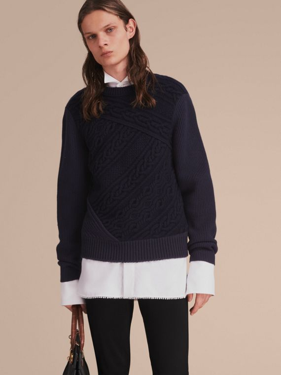 Cashmere Sweater with Cable Knit Detail