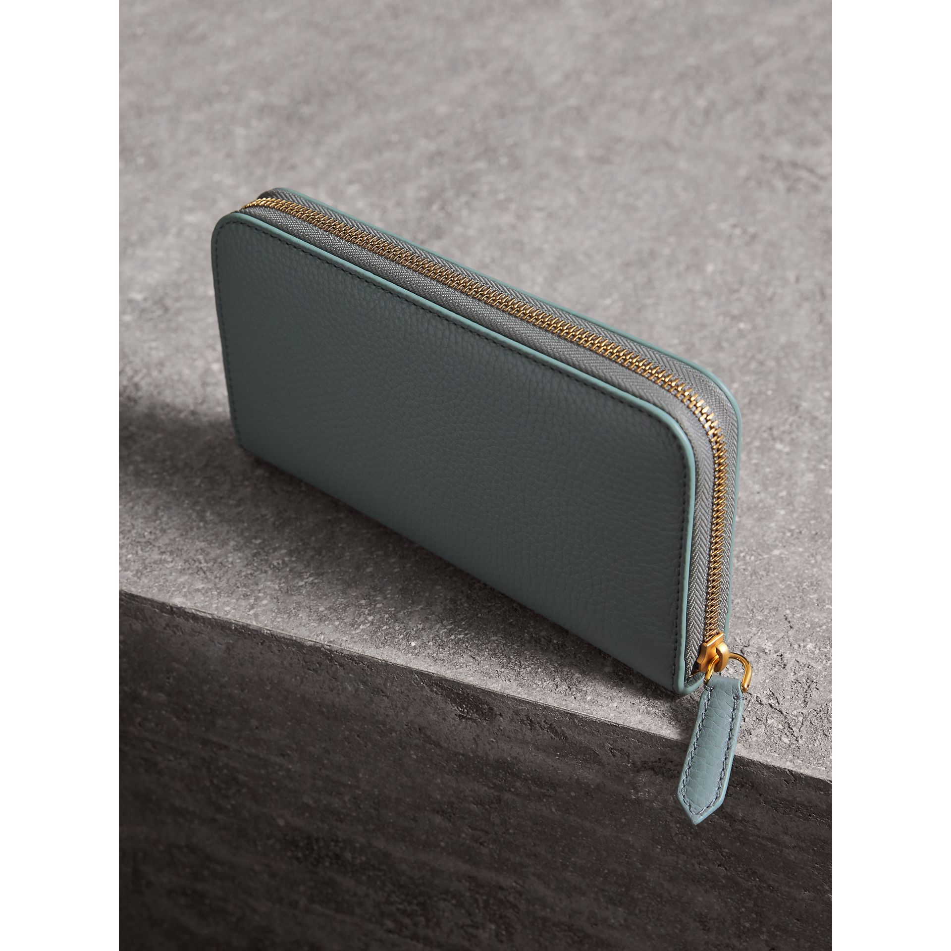 Embossed Leather Ziparound Wallet in Dusty Teal Blue - Women | Burberry - gallery image 2