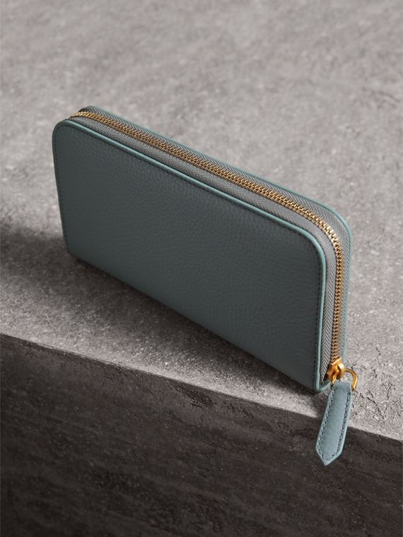 Embossed Leather Ziparound Wallet in Dusty Teal Blue | Burberry - cell image 2