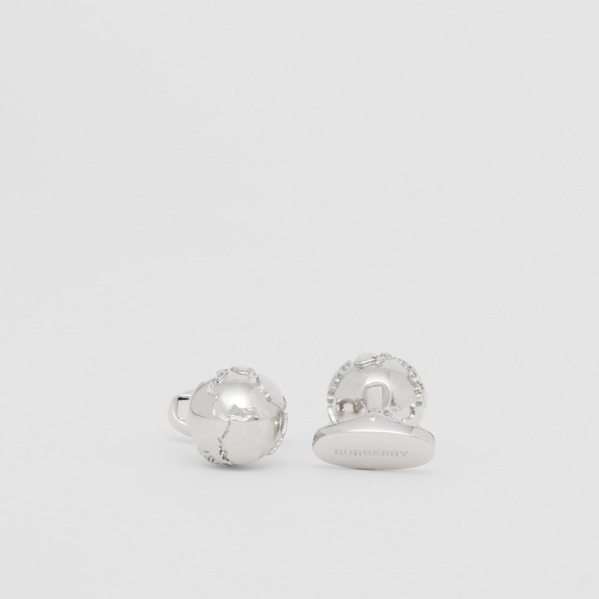 Globe Motif Palladium-plated Cufflinks - Men | Burberry - gallery image 1