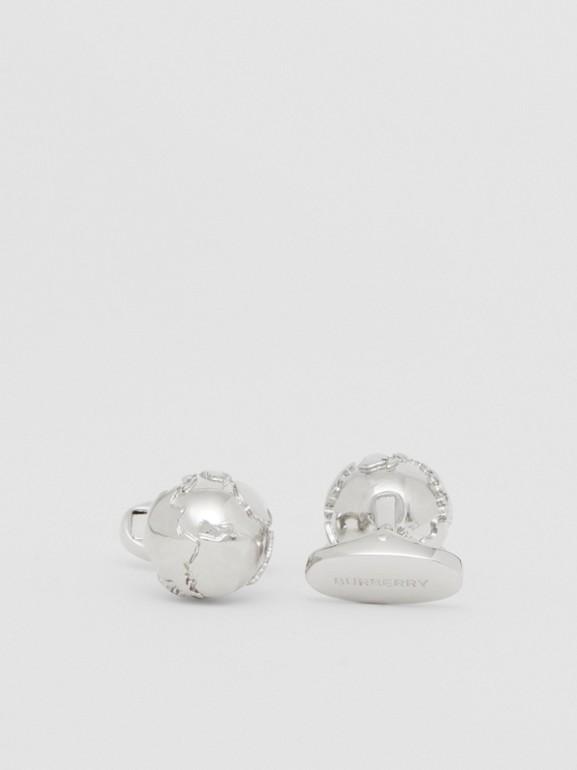 Globe Motif Palladium-plated Cufflinks - Men | Burberry - cell image 1