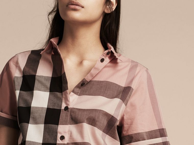 Antique pink Short-sleeved Check Cotton Shirt Antique Pink - cell image 4