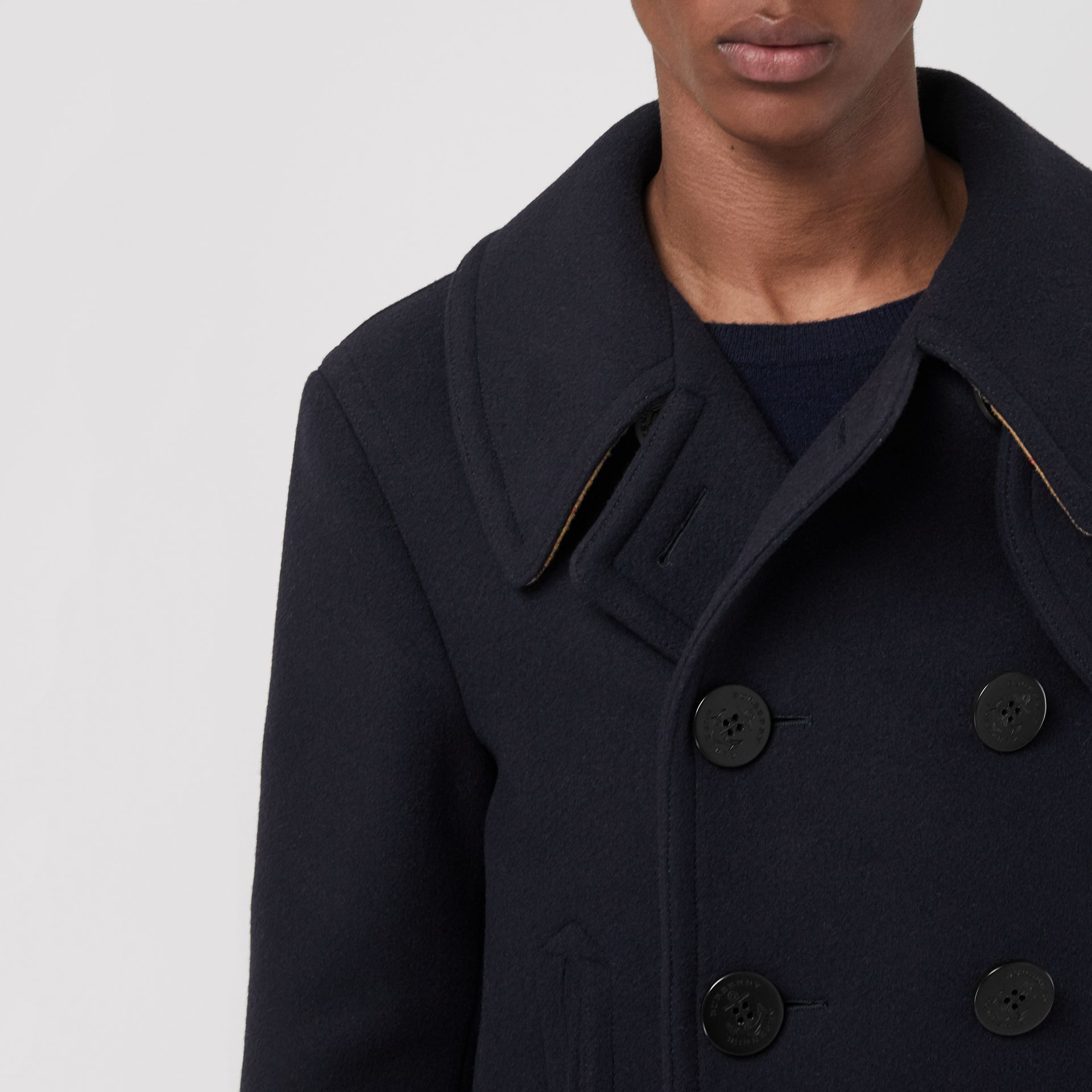 Wool Blend Pea Coat in Navy - Men | Burberry Canada - gallery image 4