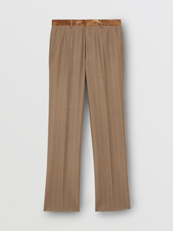 Classic Fit Velvet Trim Wool Cashmere Trousers in Dark Tan - Men | Burberry Australia - cell image 3