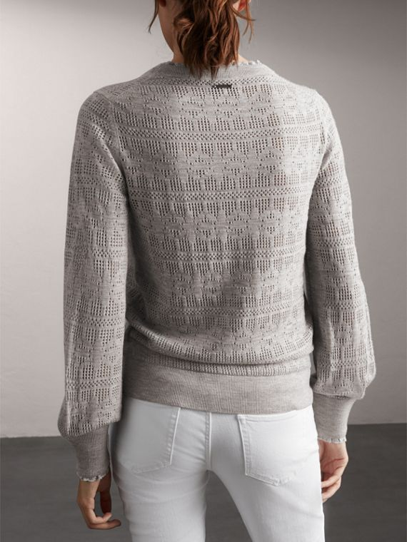 Lace Trim Pointelle Wool Cashmere Sweater in Light Grey Melange - Women | Burberry - cell image 2
