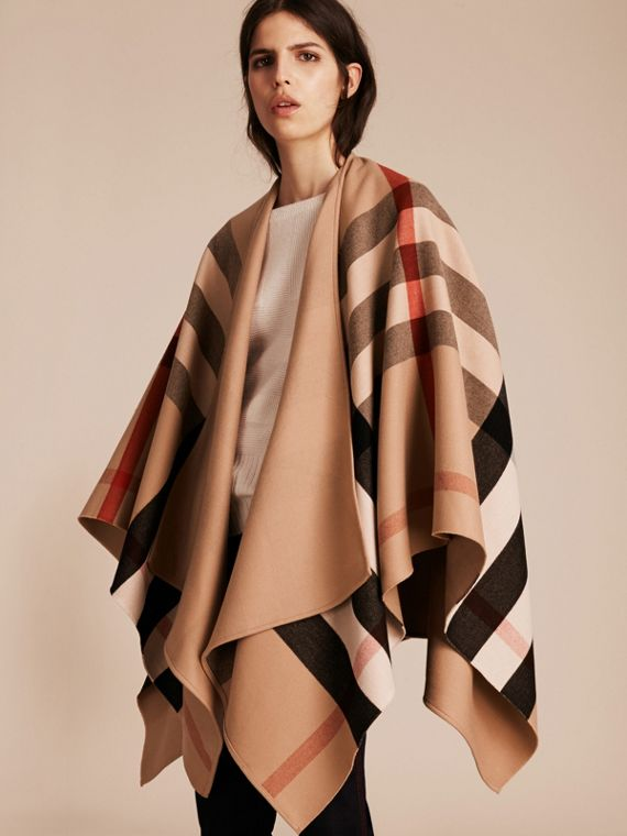 Reversible Check Merino Wool Poncho Camel - cell image 2