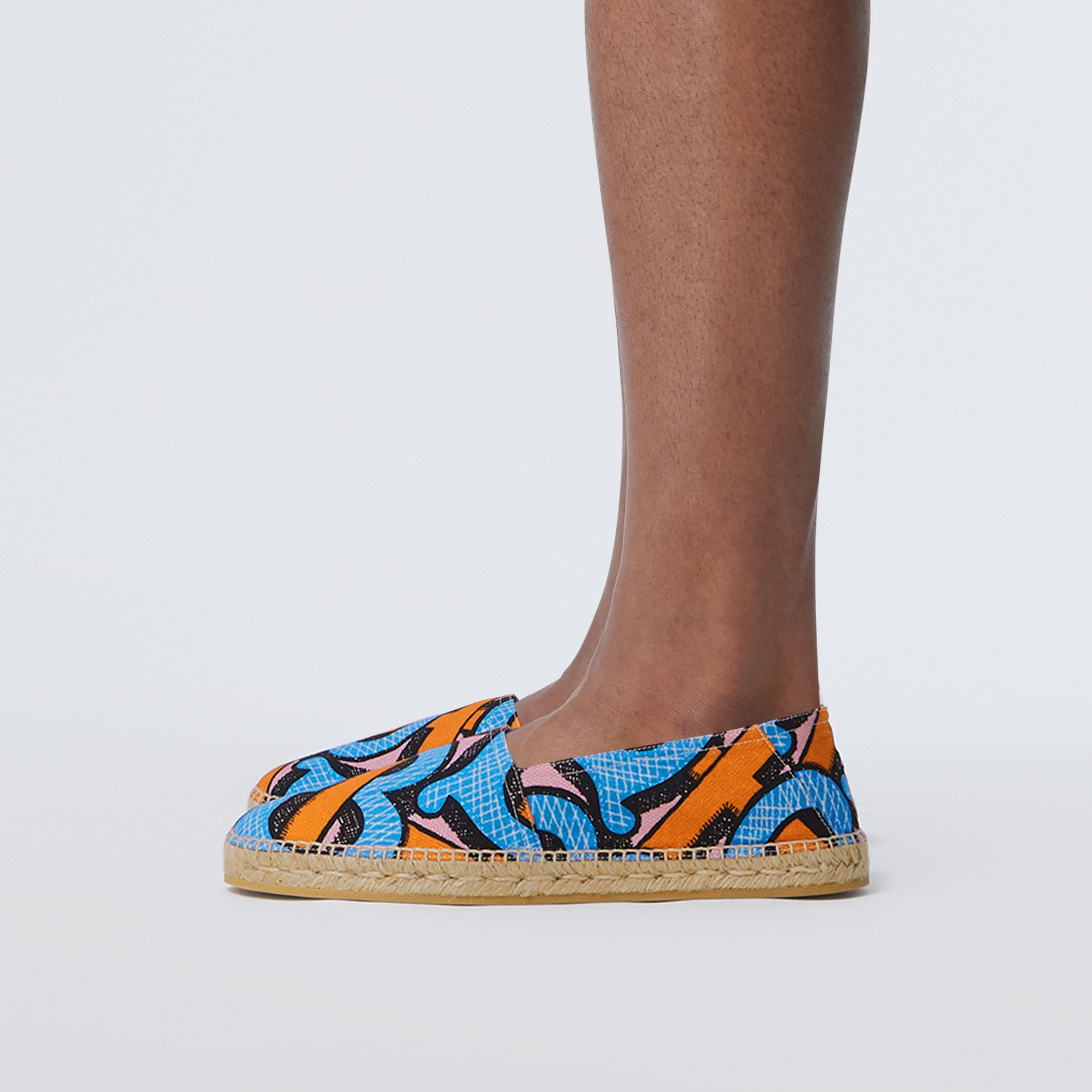 Monogram Print Cotton Canvas Espadrilles in Bright Cobalt - Men | Burberry - 3