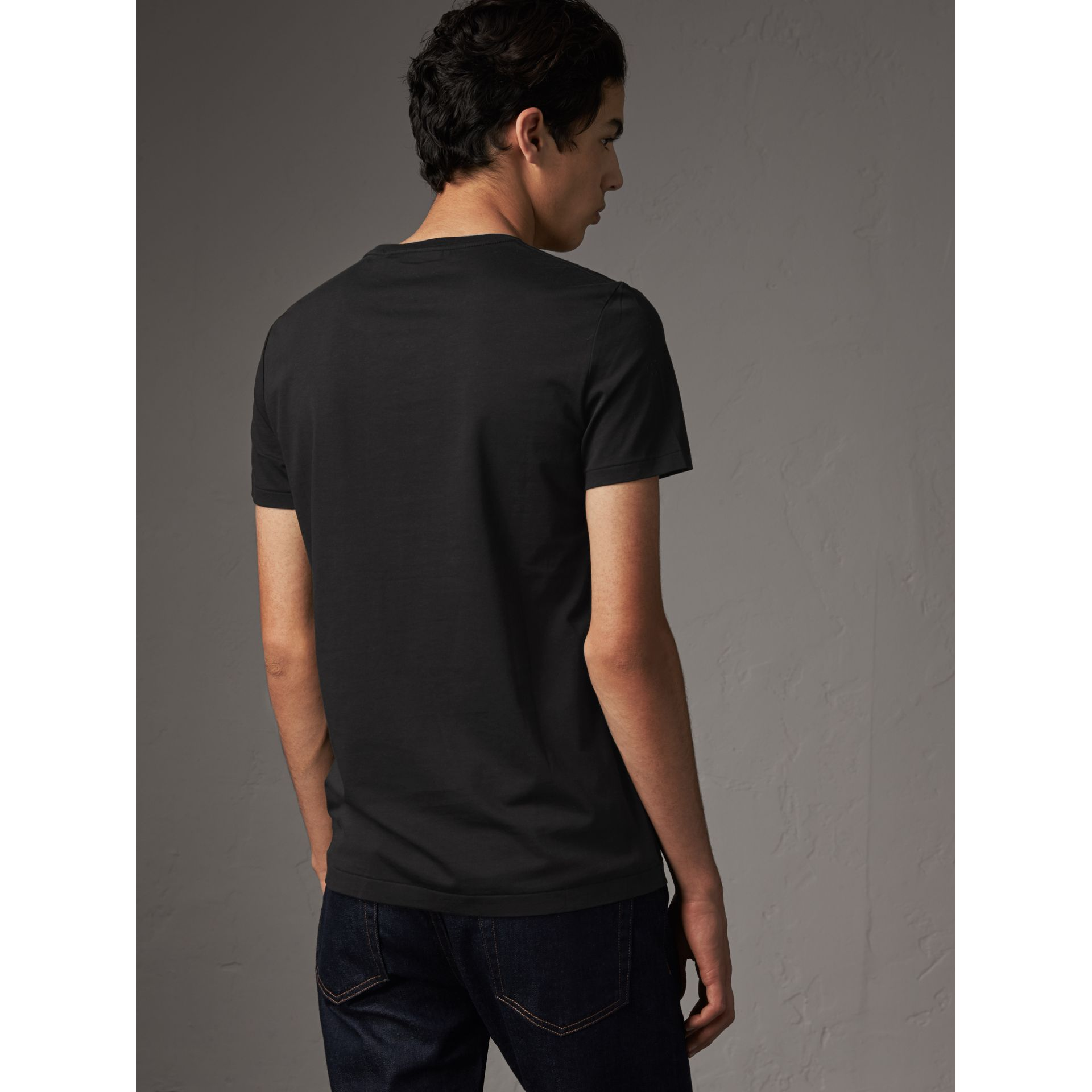 Cotton Jersey T-shirt in Black - Men | Burberry Canada - gallery image 2