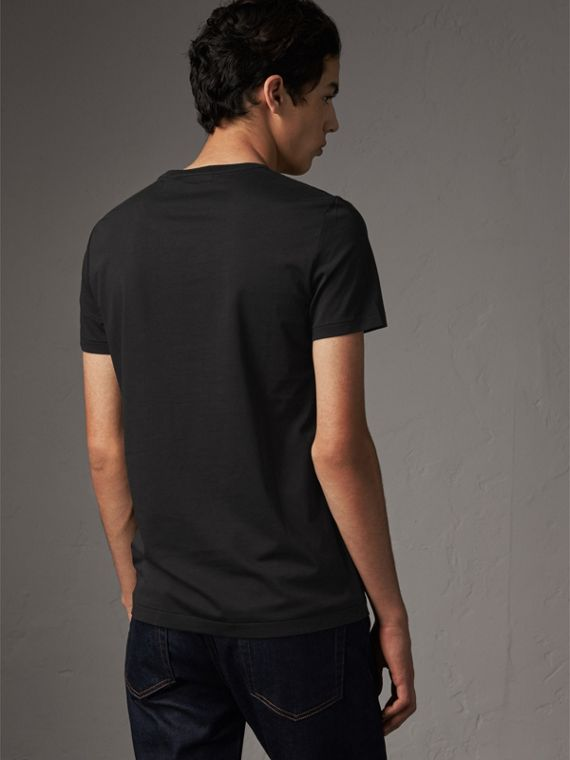 Cotton Jersey T-shirt in Black - Men | Burberry United Kingdom - cell image 2
