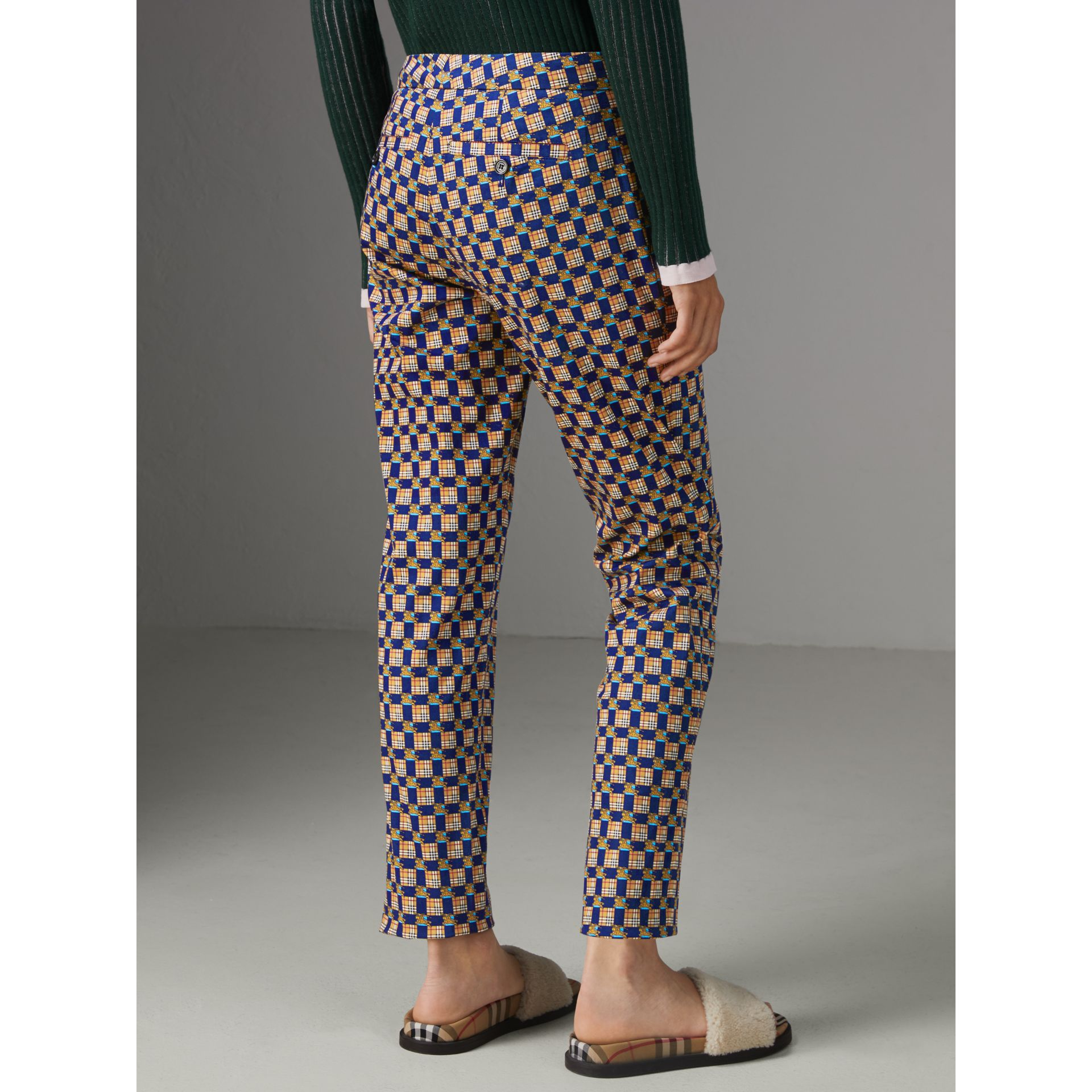 Tiled Archive Print Stretch Cotton Cigarette Trousers in Navy - Women | Burberry Australia - gallery image 2