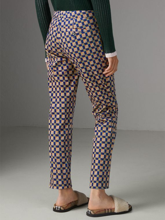 Tiled Archive Print Stretch Cotton Cigarette Trousers in Navy - Women | Burberry United States - cell image 2