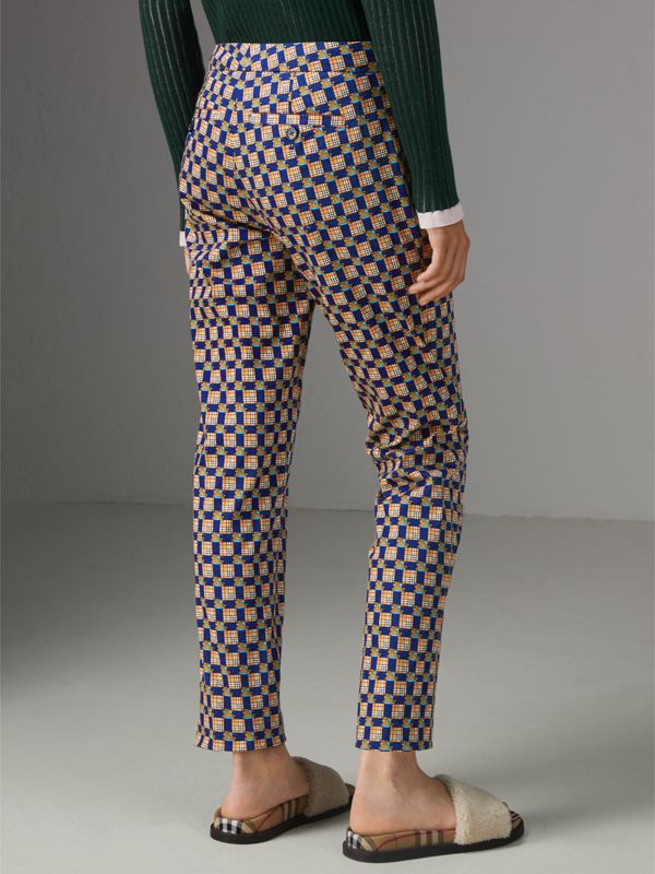 Tiled Archive Print Stretch Cotton Cigarette Trousers in Navy - Women | Burberry Australia - cell image 2