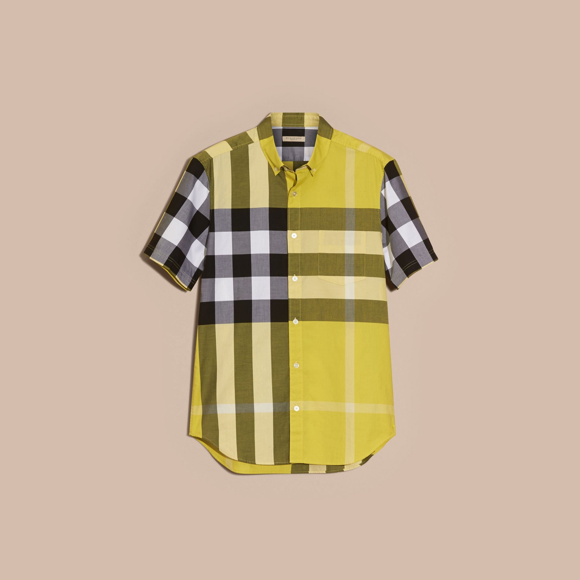 Pale yellow Short-sleeved Check Cotton Shirt Pale Yellow - gallery image 4