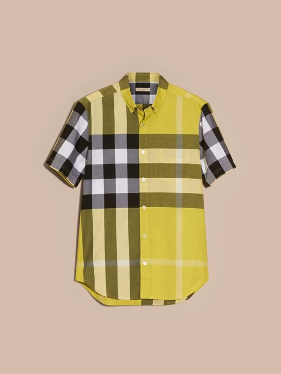 Pale yellow Short-sleeved Check Cotton Shirt Pale Yellow - cell image 3