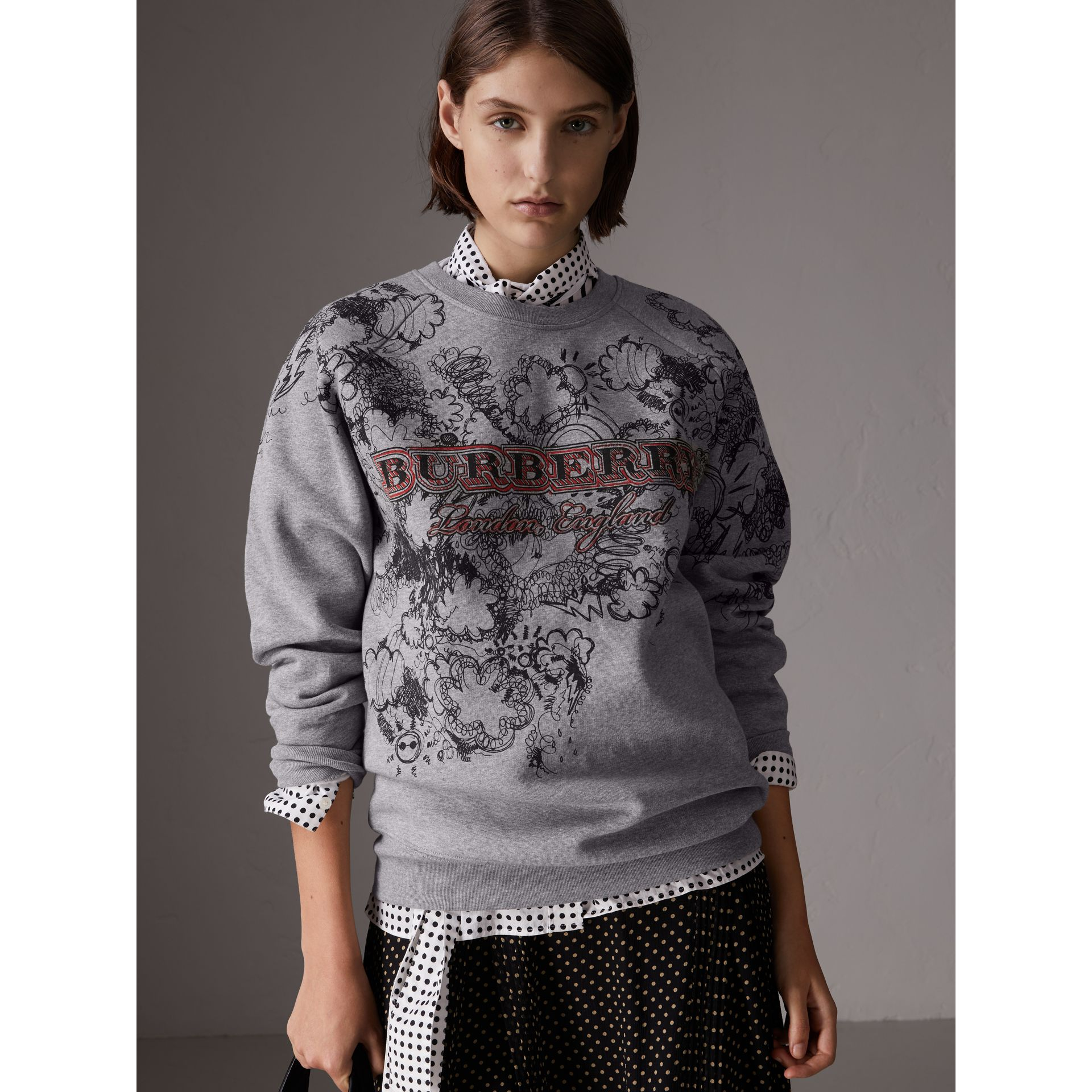 Doodle Print Jersey Sweatshirt in Pale Grey Melange - Women | Burberry - gallery image 0