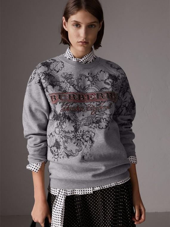 Suéter de malha com estampa Doodle (Cinza Claro Mesclado)