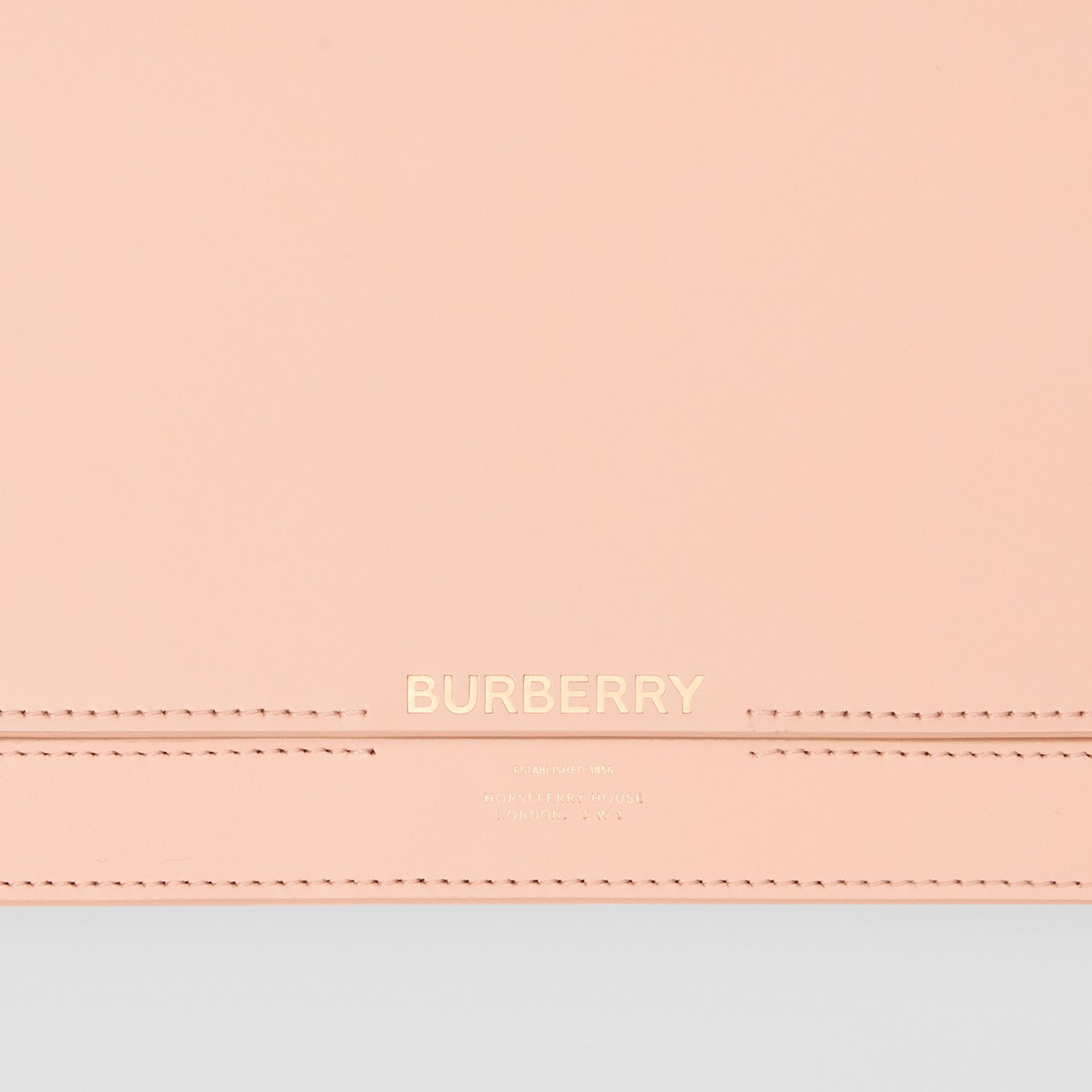 Horseferry Print Leather Bag with Detachable Strap in Blush Pink - Women | Burberry - gallery image 1