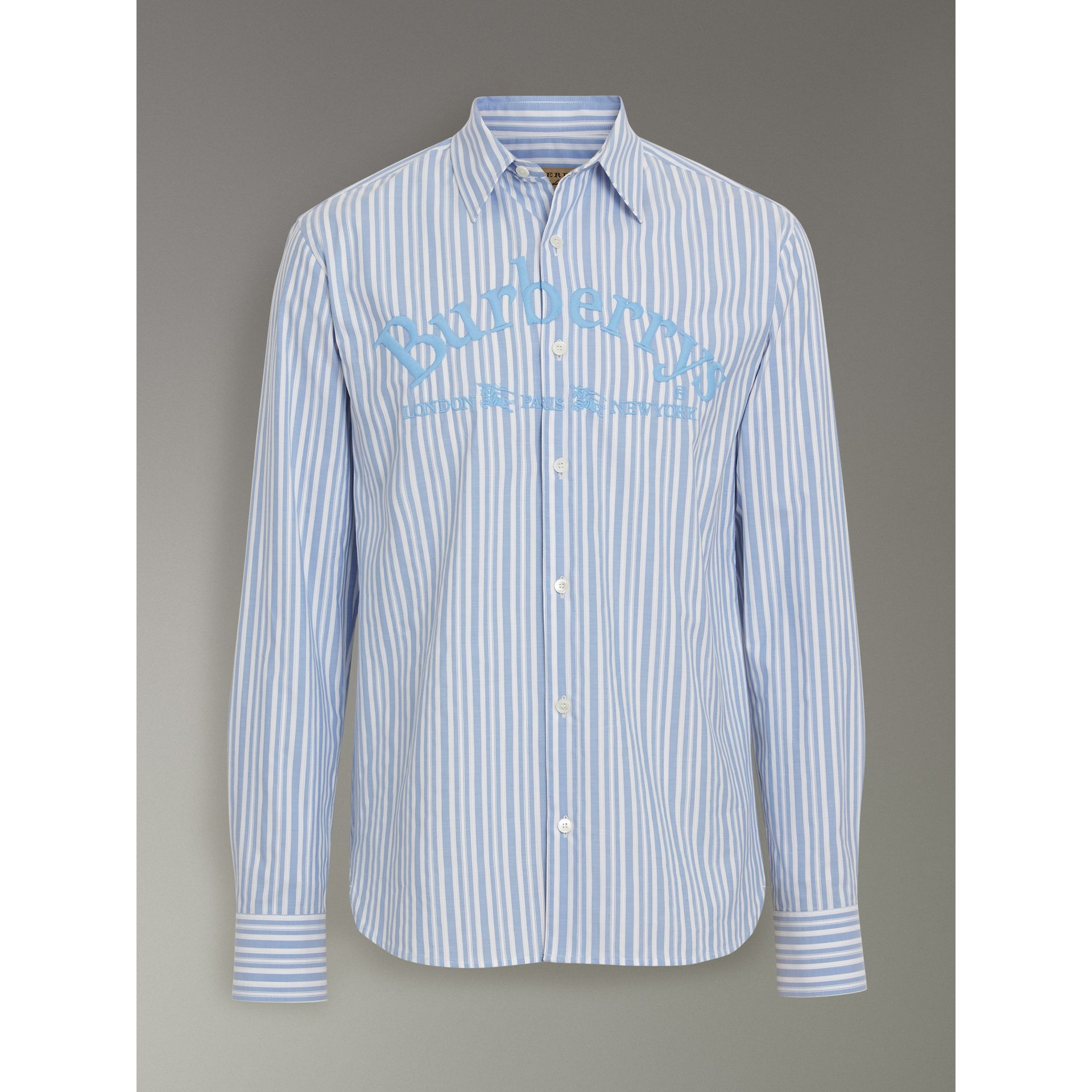 Embroidered Archive Logo Striped Cotton Shirt in Powder Blue - Men | Burberry - gallery image 3