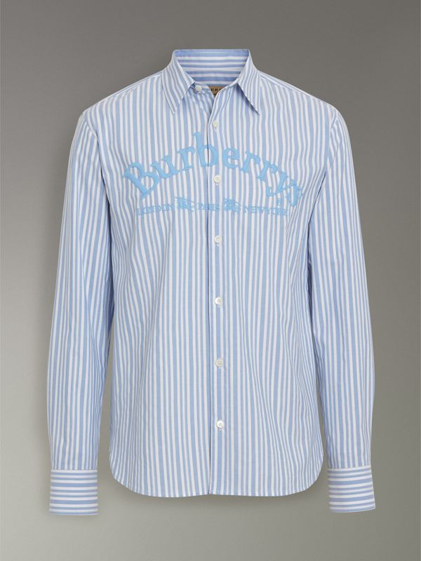 Embroidered Archive Logo Striped Cotton Shirt in Powder Blue - Men | Burberry - cell image 3