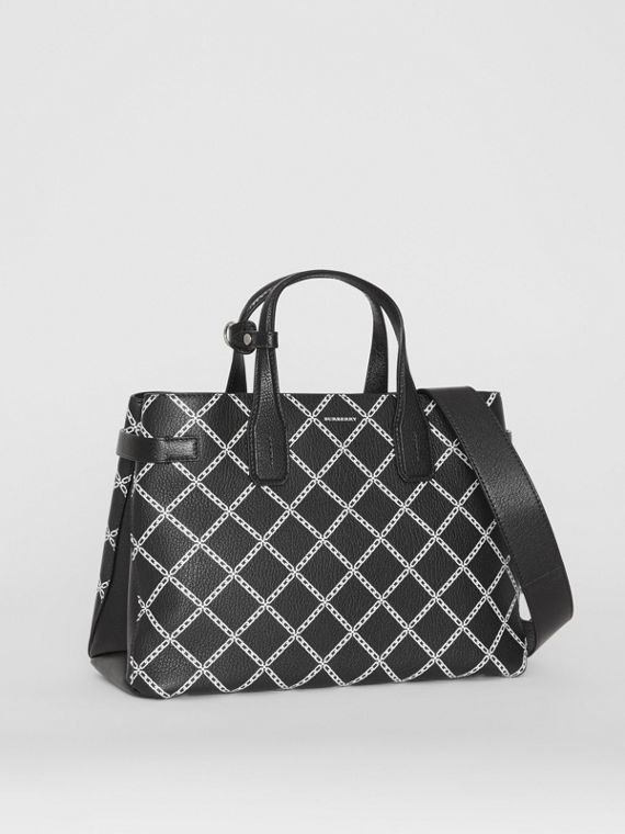 The Medium Banner in Link Print Leather in Black