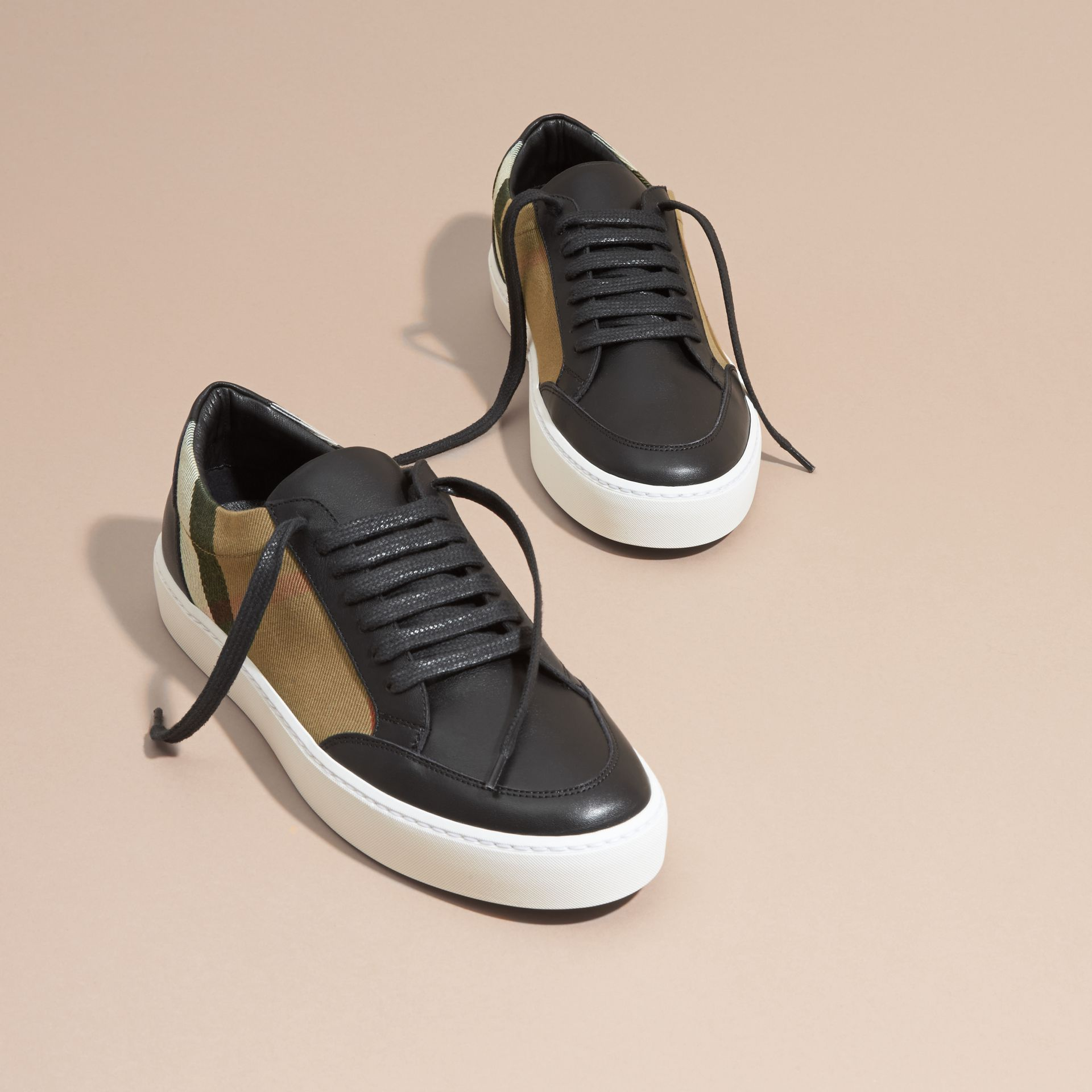 Check Detail Leather Trainers in House Check/black - Women | Burberry Canada - gallery image 3