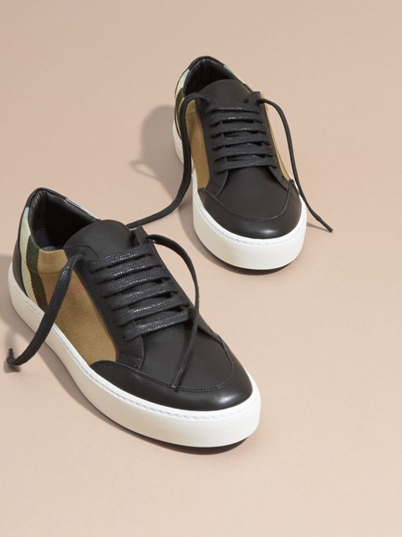 Check Detail Leather Trainers in House Check/black - Women | Burberry Canada - cell image 2