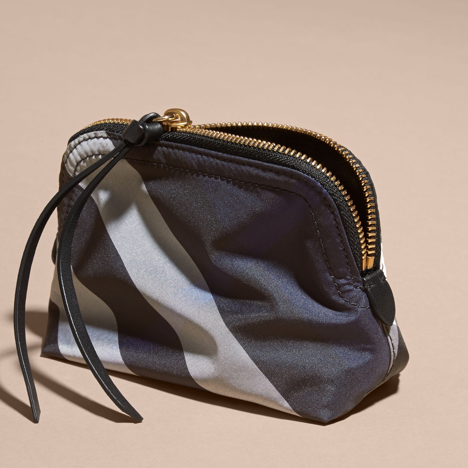 Small Zip-top Check Pouch in Indigo Blue - Women | Burberry - gallery image 4