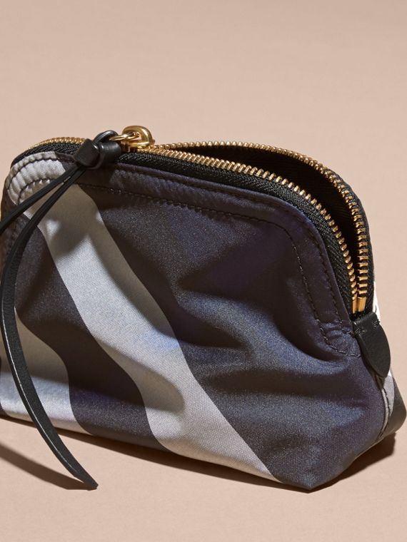 Small Zip-top Check Pouch in Indigo Blue - Women | Burberry - cell image 3