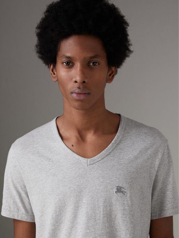 Cotton Jersey T-shirt in Pale Grey Melange - Men | Burberry Australia - cell image 1