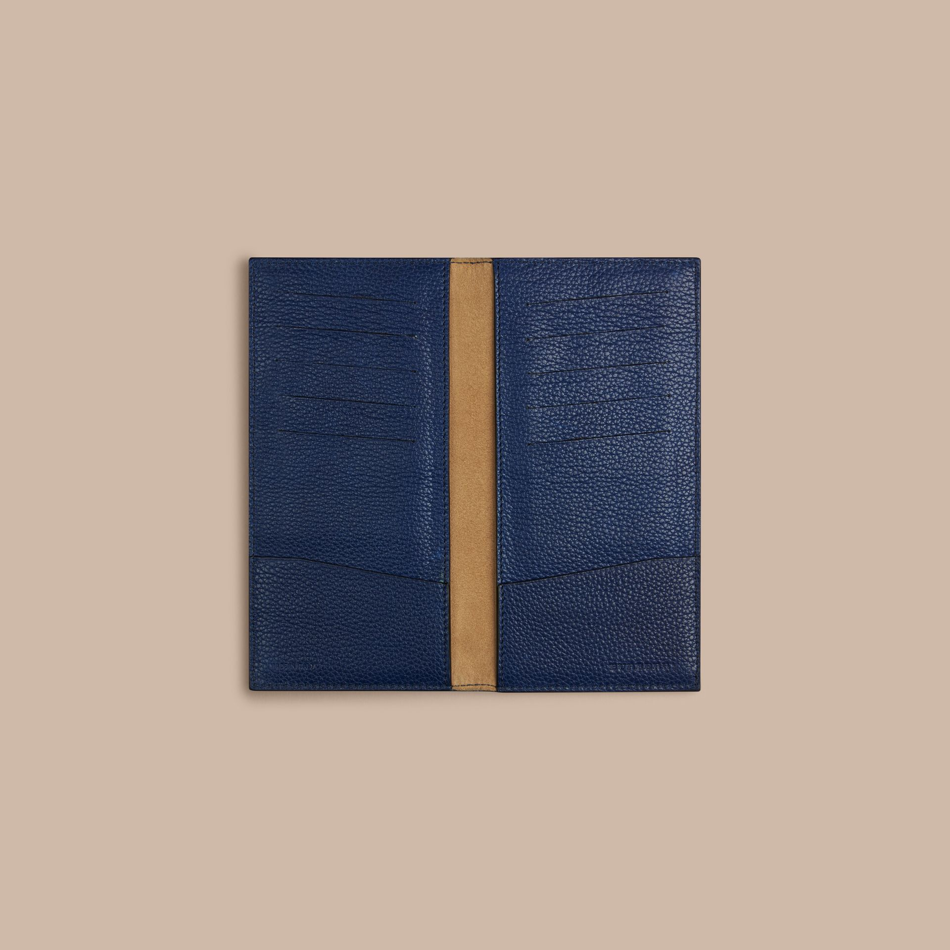 Grainy Leather Travel Card Case in Bright Navy - Men | Burberry - gallery image 2