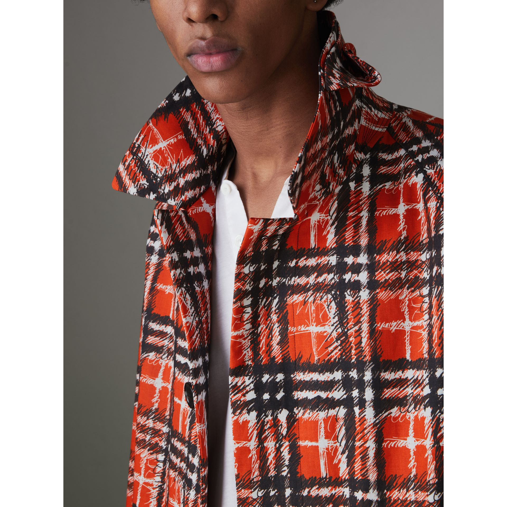Scribble Check Cotton Car Coat in Bright Military Red - Men | Burberry - gallery image 1
