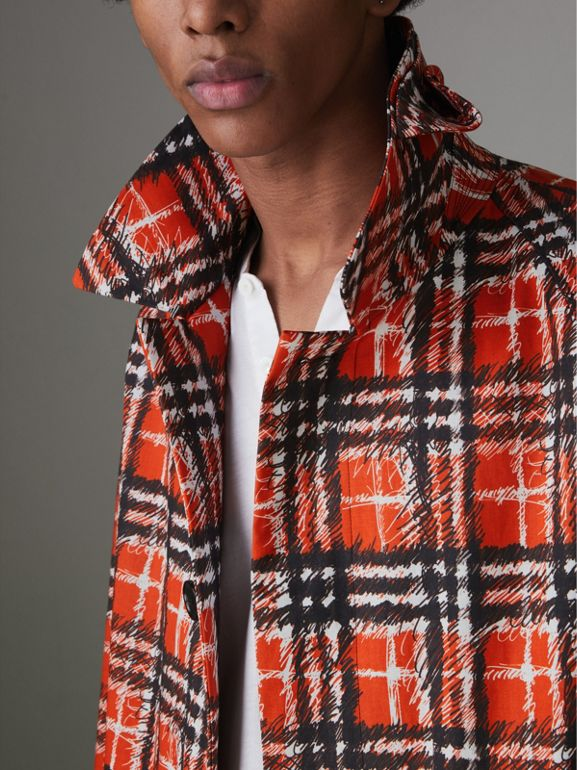 Scribble Check Cotton Car Coat in Bright Military Red | Burberry - cell image 1