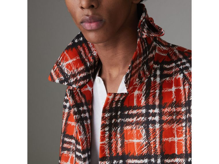 Scribble Check Cotton Car Coat in Bright Military Red - Men | Burberry - cell image 1