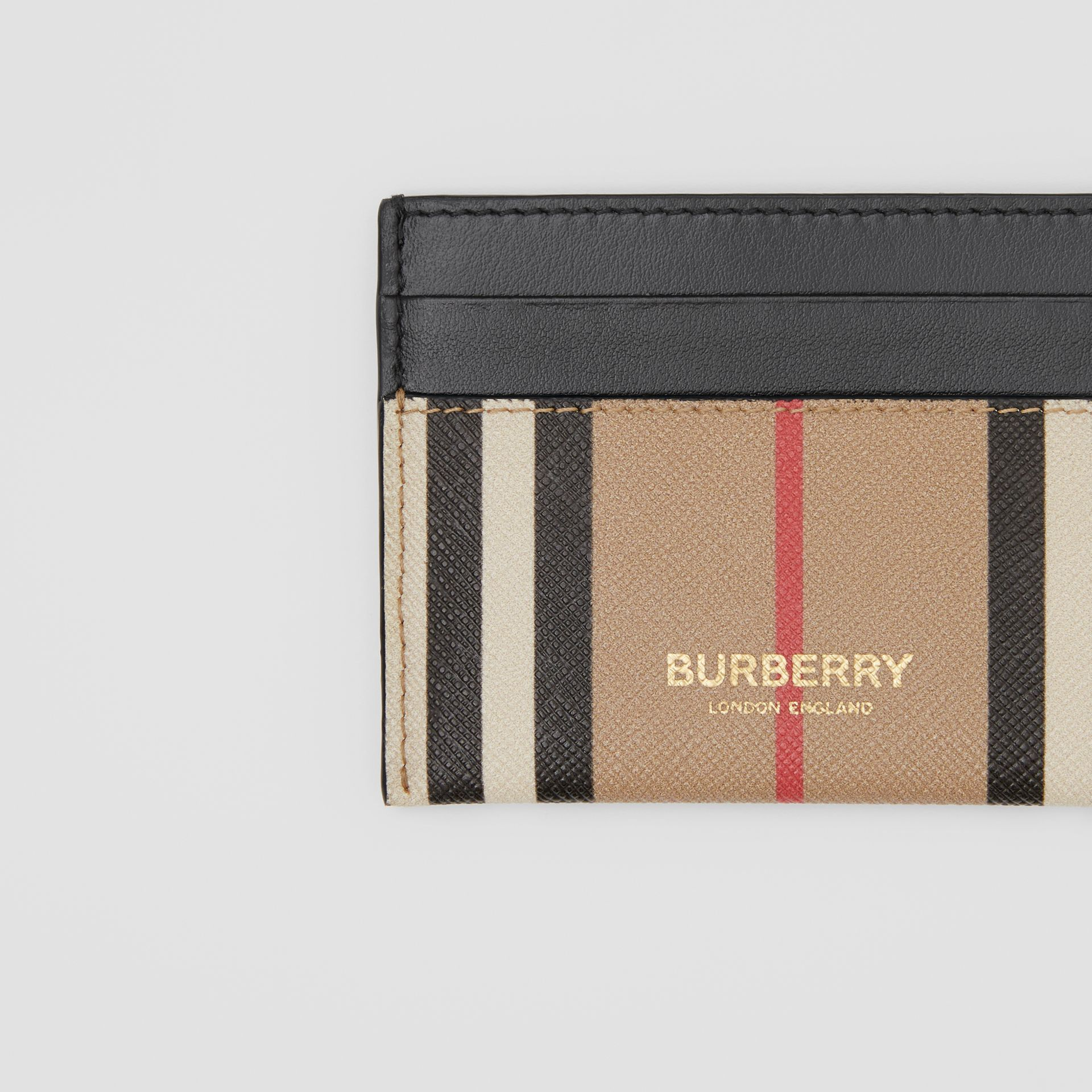 Icon Stripe E-canvas and Leather Card Case in Archive Beige - Women   Burberry United Kingdom - gallery image 1
