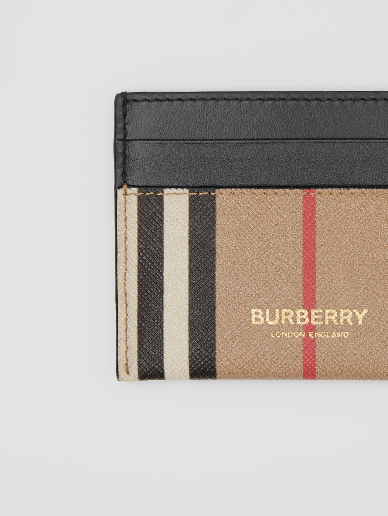 Icon Stripe E-canvas and Leather Card Case in Archive Beige